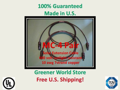 10 Foot Mc4 Solar Cables For Photovoltaic Solar Panels Mc4 Solar Connector Cables 10 Feet Long And Mc4 Connectors At Each End.