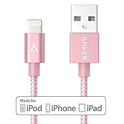 Anker 3ft Nylon Braided USB Cable with Lightning Connector [Apple MFi Certified] for iPhone 6s Plus / 6 Plus, iPad Pro, Air 2 and More (Rose Gold)