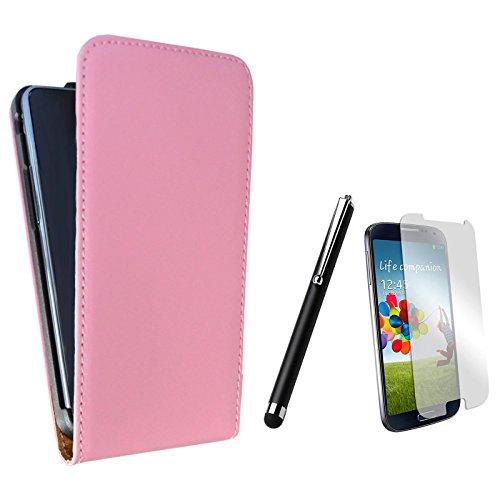 Rhaise Handyhülle Samsung Galaxy S Duos 2 GT S7580 Hülle Tasche Flip Case Schutzhülle Kunstleder Etui Rosa 1 Folie / 1 Eingabestift