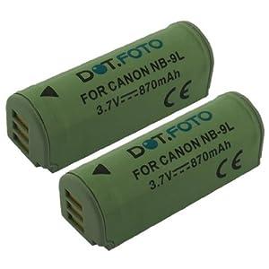 2 x Dot.Foto Batterie de qualité pour Canon NB-9L, NB-9LH - 3,5~3,7v / 870mAh - Entièrement 100% compatibles - garantie de 2 ans [Pour la compatibilité voir la description]