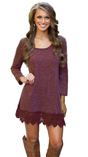 MiYang Women's Purple Long Sleeve A-line Lace Stitching Trim Casual Dress XL