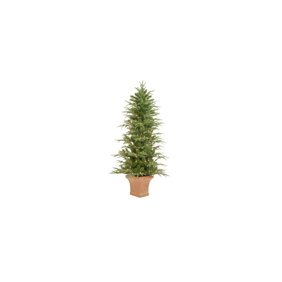 6 Pre Lit Potted Frasier Artificial Christmas Tree With Clear Lights