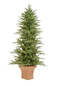 4.5' Pre-Lit Potted Frasier Artificial Christmas Tree With Clear Lights