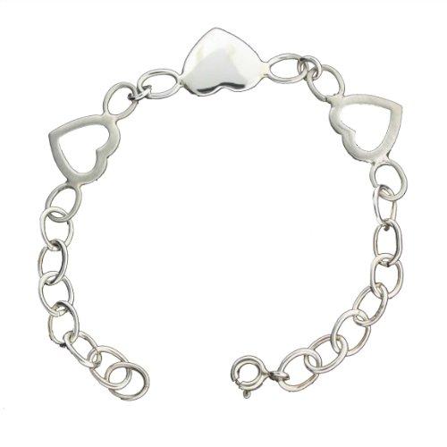 Sterling Silver 5 1/2 Inch Heart Link Baby Bracelet