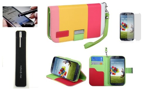 Pink/Yellow Samsung Galaxy S4 Wallet Pouch Phone Case And Screen Protector, Momiji® Stylus Pen