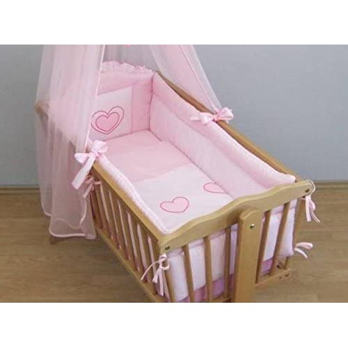 Baby All Round Crib Bumper 260cm Long Covers 4 Sides of Cradle 90x40cm HEART EMBROIDERY - PINK