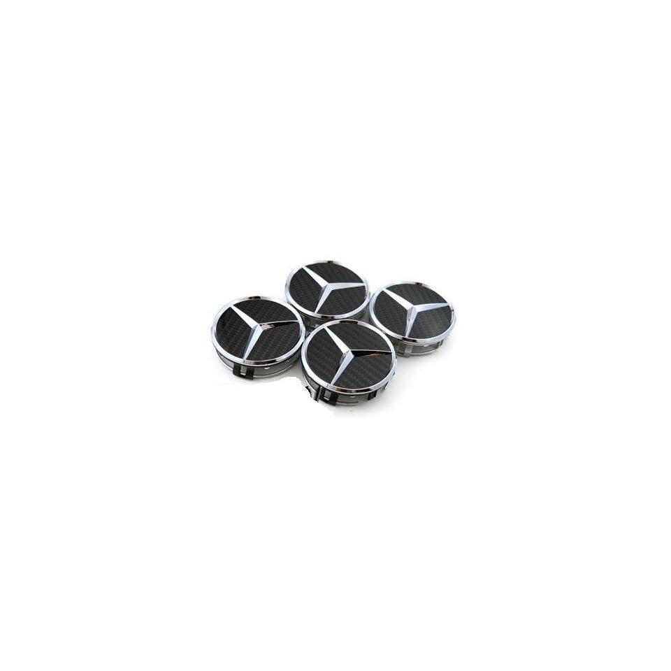 Mercedes Benz Black Carbon Fibre Alloy Wheel Centre Caps Hub Cover
