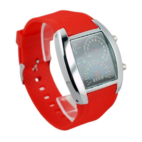 New Cool Rpm Turbo Flash Digital Led Sports Watch Gift Car Meter Dial For Men Usa Seller (Red)