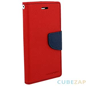 Flip case cover fancy wallet dairy for Micromax Canvas Juice A 77 Red With Griffin Aux cable