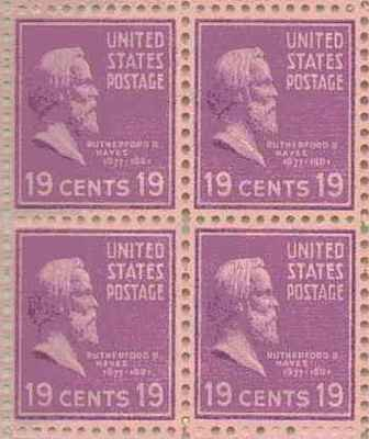 Rutherford B Hayes Set of 4 x 19 Cent US Postage Stamps NEW Scot 824