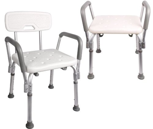 tms adjustable medical shower chair bathtub bench bath seat stool armrest back white - Shower Chair With Back