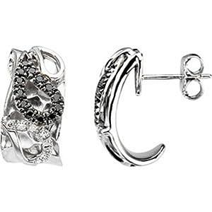 IceCarats Designer Jewelry 1/3 Ctw Black And White Diamond Paisley Design Earrings