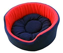 Fluffy's Luxurious Soft Red & Blue Dog/Cat Bed Both Side(Export Quality)- Large