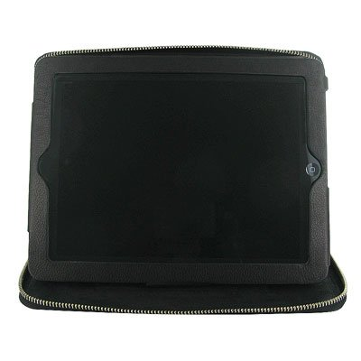 Black Leather Zippered iPad 2 Case Stand