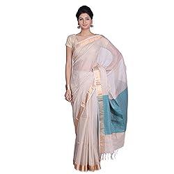 Indian Artizans Cream Cotton Silk Maheshwari Saree
