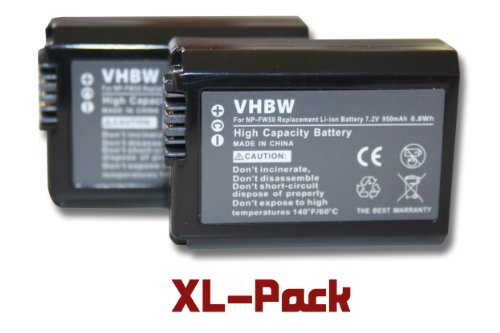 2 x vhbw Akku Set 950mAh für Kamera Sony Cybershot DSC-RX10, NEX-3N, NEX-3NL, NEX-3NLB, NEX-3NLW, NEX-3NYB, Alpha 5000 wie NP-FW50