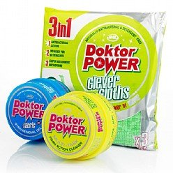 JML Doctor Power cleaning kit including Multi Task Foam Cleaner, Fabric Cleaner and Microfibre 3 pack of cloths