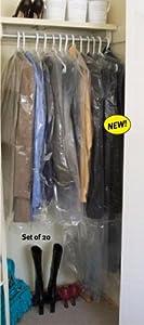 GARMENT STORAGE BAGS - CLOSET 20 PIECE SET (CLEAR)