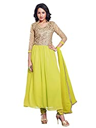 Anjali Presents Trendy Green Coloured Embroidered Anarkali