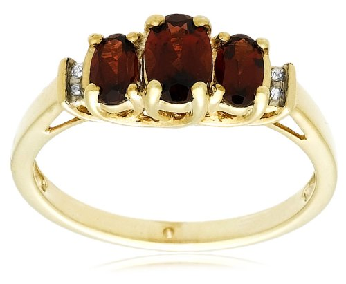 10k Yellow Gold January Birthstone 3-Stone Garnet with Diamond-Accent Ring, Size 7