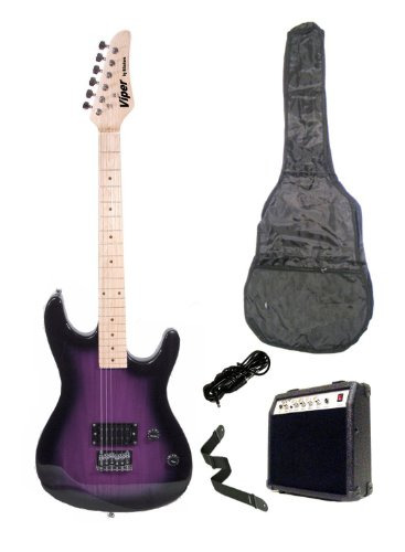 39 Inch PURPLE Electric Guitar and Amp Pack & Carrying Case & Accessories, (Guitar, 10 Watt Amplifier, Whammy Bar, Strap, Cable, Strings, & DirectlyCheap(TM) Translucent Blue Medium Guitar Pick)