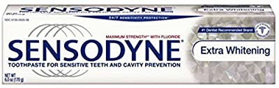 Sensodyne Toothpaste for Sensitive Teeth & Cavity Protection, Extra Whitening 4 oz