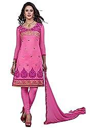 Khushali Presents Chudidar Dress Material(Pink)