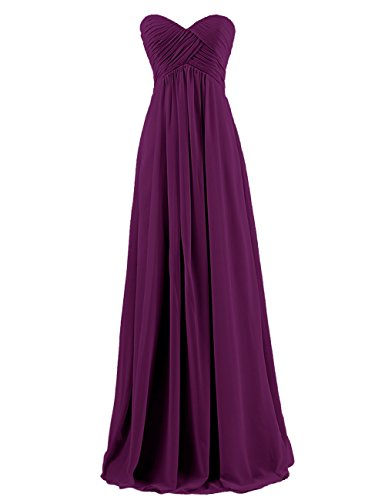 Dresstells® Sweetheart Bridesmaid Chiffon Prom Dresses Long Evening Gowns Grape Size 12