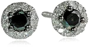 10k White Gold 1/4 cttw Black and White Diamond Stud Earrings