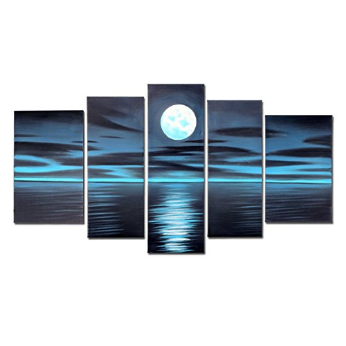 VASTING ART 5-Panel 100% Hand-Painted Oil Paintings Landscape Seascape Blue Night Moon Sea Modern Abstract Artwork Stretched Wood Framed Ready To Hang Home Decoration Wall Decor Living Bedroom Dark (Cool Artwork compare prices)
