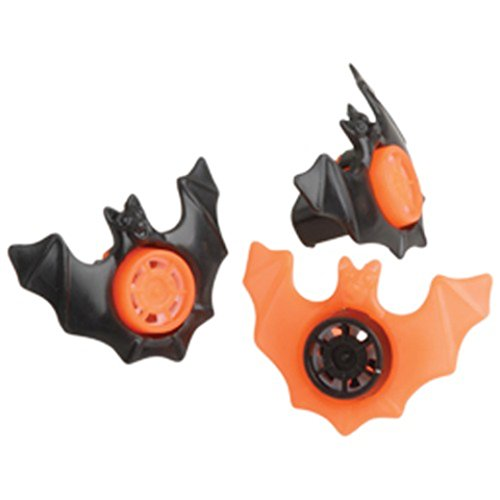 Lot Of 12 Black And Orange Bat Theme Siren Whistles