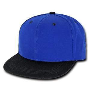 Royal Blue & Black Vintage Style Snap Back Flat Bill Adjustable Baseball Cap Hat