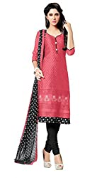 Manthan Pink Embroidered Un-Stitched Chudidar Suit