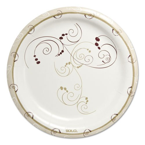 """SOLO Cup Company Symphony Heavyweight Paper Dinnerware, Plate, 9"""", Round, White/Beige/Red - Includes four packs of 125 plates each."""