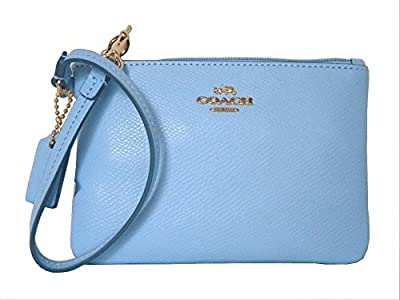 Coach Crossgrain Leather Small Wristlet 52850 Pale Blue