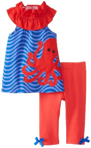 Mud Pie Baby-Girls Infant Octopus Tunic And Legging Set, Blue/Red, 12-18 Months front-983224