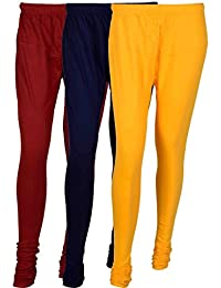 Cotton Leggings (Culture The Dignity Women's Cotton Leggings Combo Of 3_CTDCL_MNvY_MAROON-NAVYBLUE-YELLOW_FREESIZE)