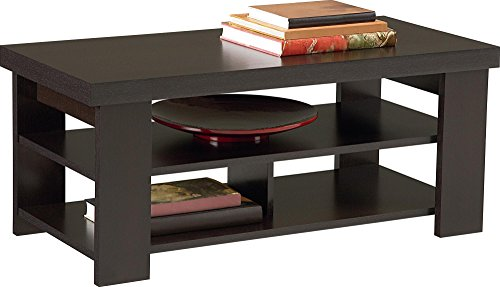 Ameriwood Hollow Core Contemporary Coffee Table, Medium, Black Forest