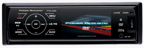 Power Acoustik PTID-3200 Single DIN A/V Source Unit w/ 3.2&quot; TFT-LCD,  Theft Deterrent Detachable Flip-down Faceplate  Feather Touch Controls