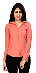 Carrel Brand Imported Cotton Fabric Solid Full Sleeve Shirt Peach Colour Women XL Size.
