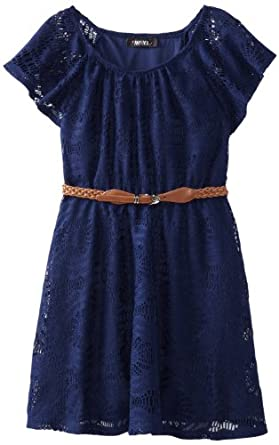 Amy Byer Big Girls' Belted Lace Dress, Blue, 8