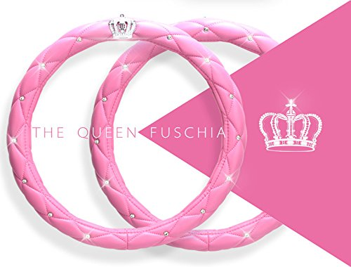 Car Steering Wheel Cover, 38CM/15'' Universal Cystal Crown PU Leather DAD Diamond Steering Wheel Cover For Audi Benz Mini Girl Lady Women Steering Cover (Pink) (Black Wheel Cover With Diamonds compare prices)