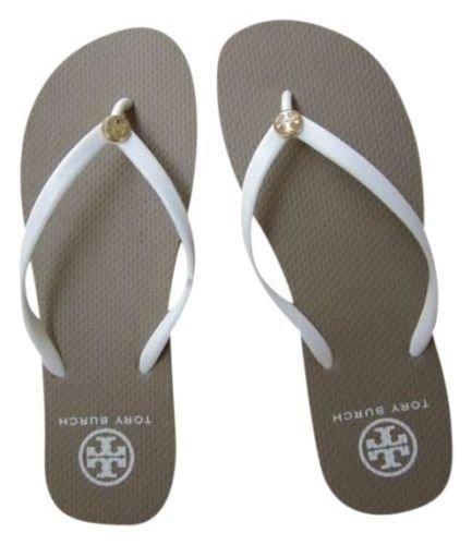 NEW Women Tory Burch white flat flip flops beach sandals slippers 6 7 8 9 10 SZ