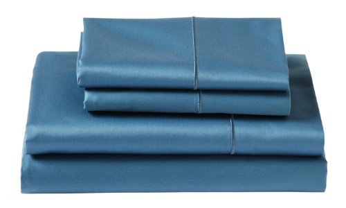 Cuddledown 400 Thread Count Flat Sheets, Twin, Sapphire front-409183