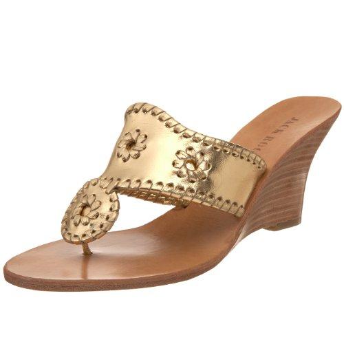 Jack Rogers Women's Hampton Thong Sandal,Gold/Gold,9 M US