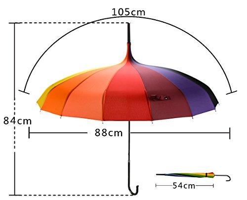 OUTGEEK Rainbow Umbrella Pagoda Long Handle Vintage Windproof Umbrella Parasol 4