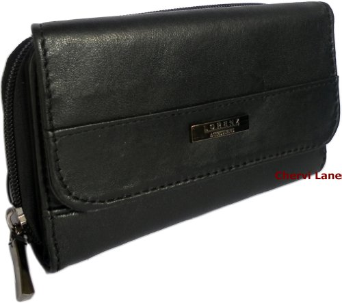 Brand New Quality Womens Soft Sheep Nappa Leather Purse (Black)