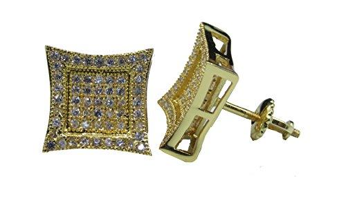 Inset Kite 14K Gold Overlay Lab Simulated Diamond Cz .925 Earrings 10Mm Hip Hop Mens Screw On Studs
