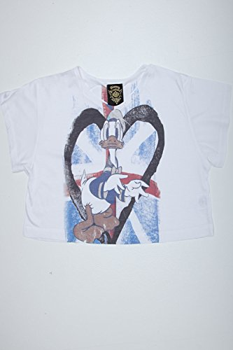 Plus Size Womens Disney Couture Donald Duck Heart Print Cropped Tee Size M 10-12 White