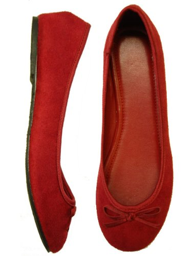 Womens Ballerina Ballet Faux Suede Flat Shoes (10, Maroon Red 8800)